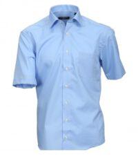 Cotton Island grote maat overhemd uni blauw strijkvrij