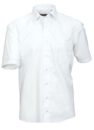 Cotton Island grote maat korte mouw overhemd uni wit strijkvrij
