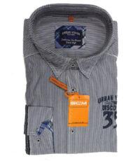 G.C.M. grote maat overhemd blauw en witte lengte streep