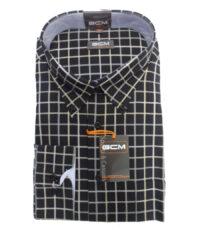 G.C.M. grote maat overhemd lange mouw zwart en beige ruit