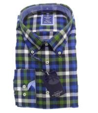 Redmond overhemd grote maat blauw,groen en witte ruit flanel