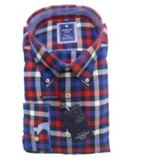 Redmond overhemd grote maat rood, navy en witte ruit flanel
