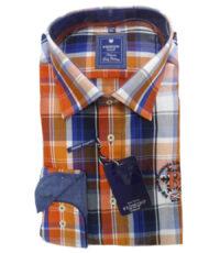 Redmond grote maat overhemd lange mouw oranje, blauw en wit