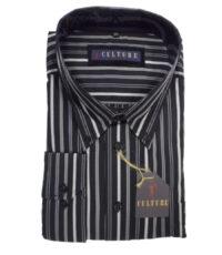 Culture grote maat overhemd lange mouw zwart en grijze lengtestreep
