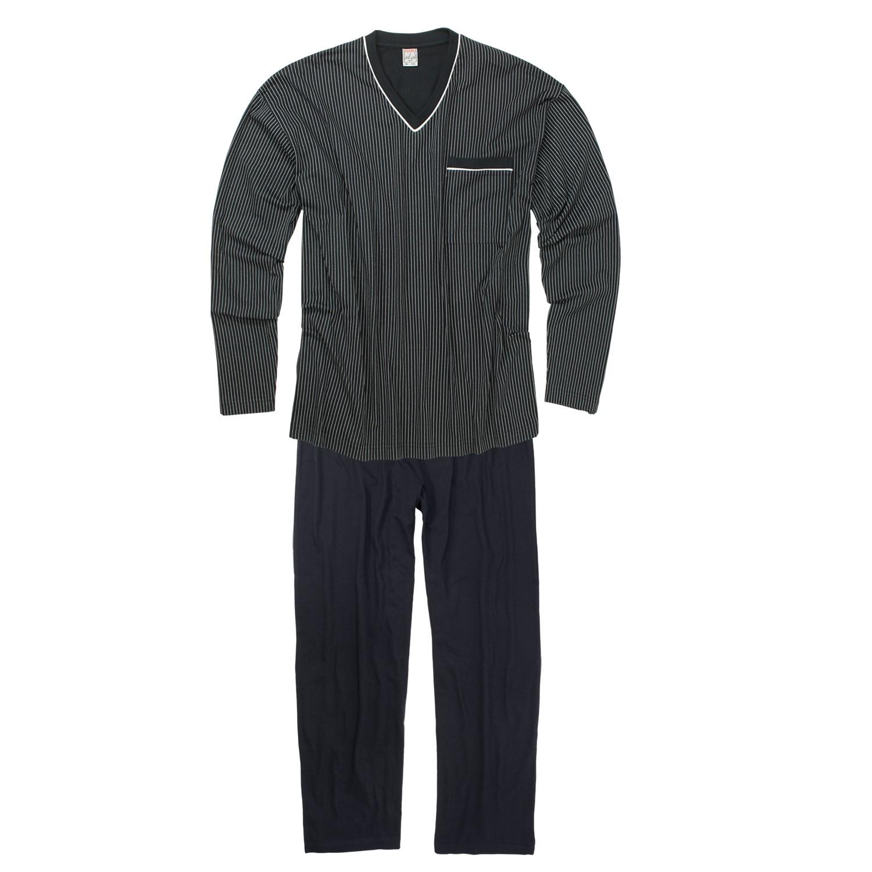 Adamo grote maat pyjama blauw v-hals