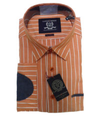 Casa Moda grote overhemd lange mouw oranje en witte lengte streep met elleboogstukken