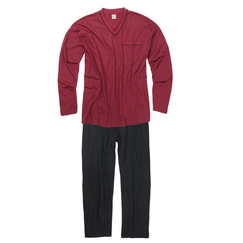 Adamo grote maat pyjama bordeauxrood v-hals
