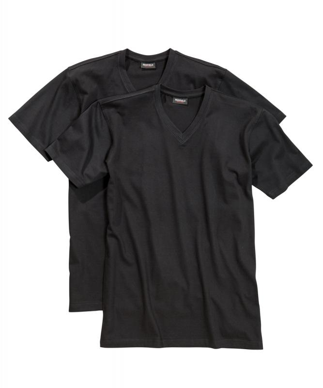 Redfield grote maat t-shirts korte mouw zwart v-hals