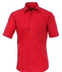 Grote maat overhemd korte mouw uni rood Cotton Island