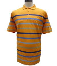 Casa Moda grote maat poloshirt oranje en blauwe breedte streep