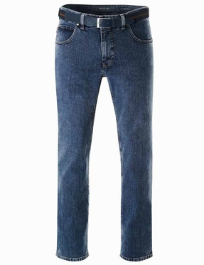 Pionier grote maat stretch jeans stone washed model Peter