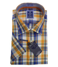 Redmond overhemd grote maat blauw, oranje en wit