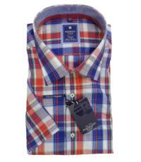 Grote maat overhemd blauw, rood en witte ruit Redmond