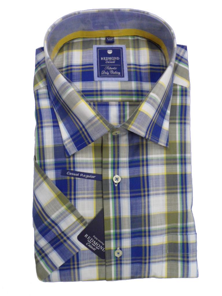 Redmond grote maat overhemd korte mouw blauw en groene ruit