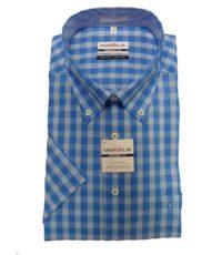 Marvelis overhemd grote maat blauw en lichtblauw ruitje button down