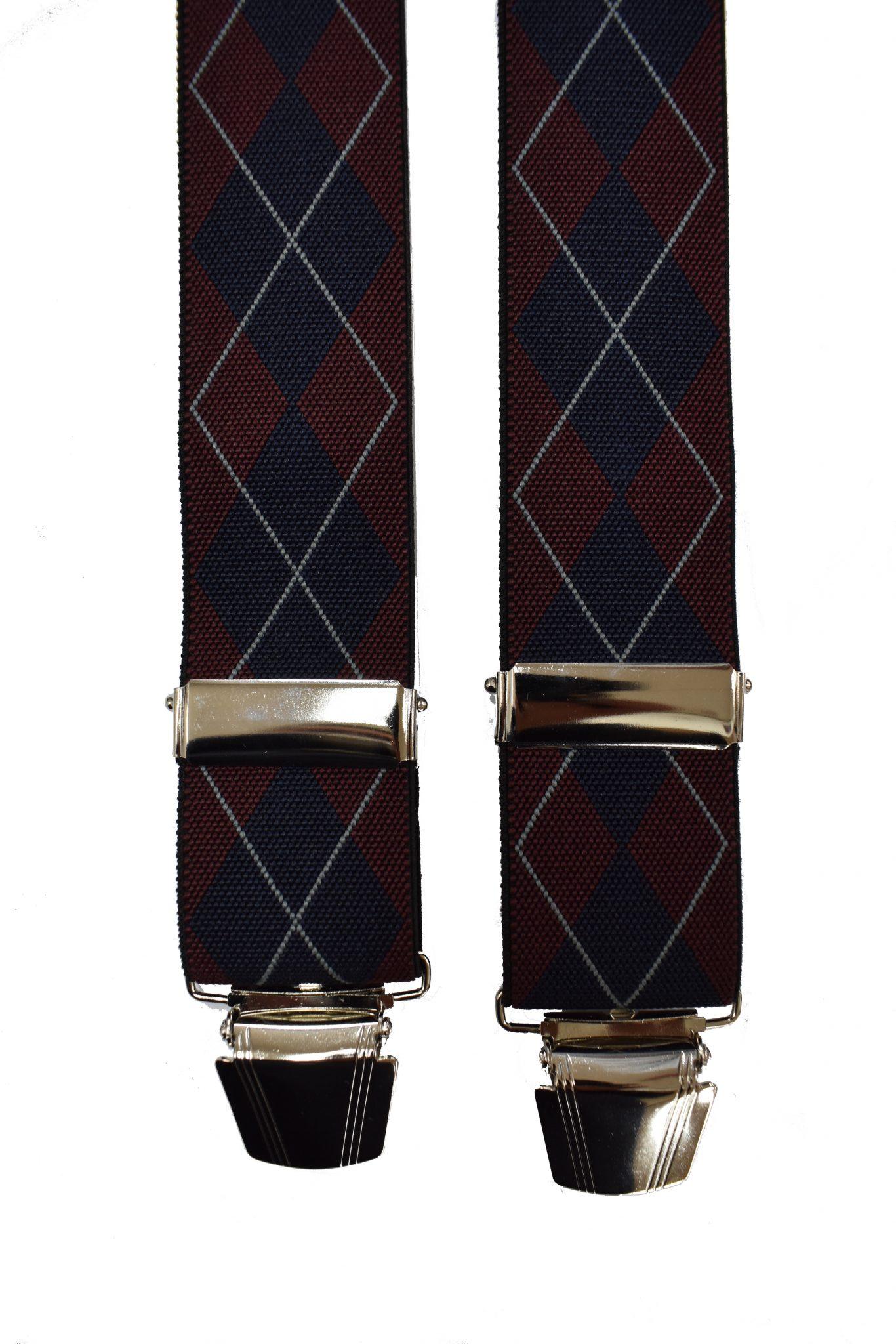 Dobrefa extra lange bretels bordeauxrood en donkerblauw diagonaal