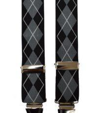 Dobrefa extra lange bretels zwart en grijs diagonaal