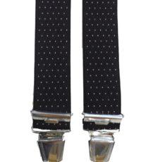 Dobrefa extra lange bretels zwart met wit stipje