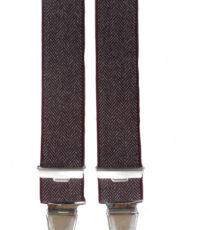 Dobrefa extra lange bretels bordeauxrood met visgraat patroon