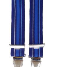 Dobrefa extra lange bretels blauw en witte lengte streep