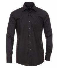 Casa Moda grote maat overhemd lange mouw uni zwart strijkvrij