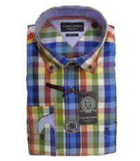 Overhemd grote maat lange mouw multi color ruit button down