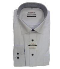 Marvelis overhemd lange mouw wit met zwarte knoopjes strijkvrij