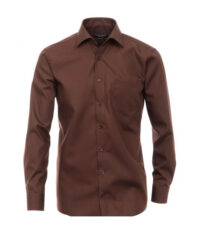 Grote maat Casa Moda lange mouw overhemd uni bruin strijkvrij