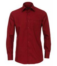 Grote maat Casa Moda lange mouw overhemd uni bordeauxrood strijkvrij