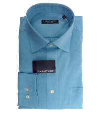 Casa Moda overhemd extra lange mouw mouwlengte7 uni turquoise strijkvrij