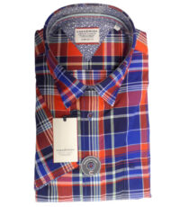 Casa Moda overhemd grote maat blauw en rode ruit