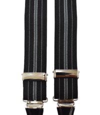 Dobrefa extra lange bretels zwart en grijze lengte streep