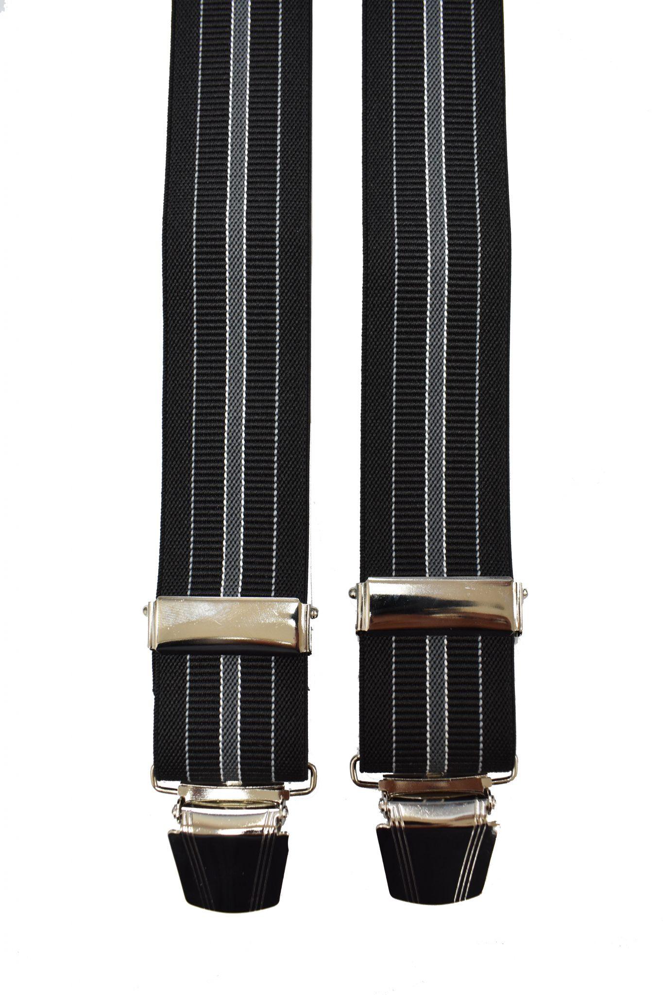 Extra lange bretels zwart en grijze lengte streep
