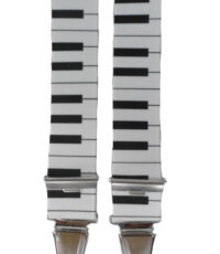 Dobrefa extra lange bretels zwart en wit piano klavier