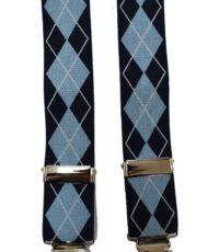 Dobrefa extra lange bretels blauw met lichtblauw griot