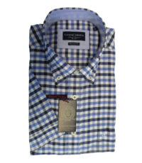 Grote maat overhemd donkerblauw, blauw en witte ruit button down