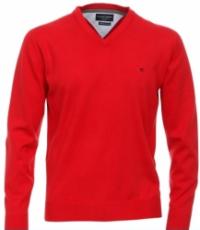 Casa Moda extra lange mouw 72cm v-hals trui rood
