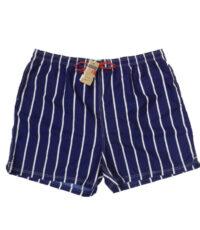 Grote maat zwemshort met binnenbroek donkerblauw met witte lengte streep