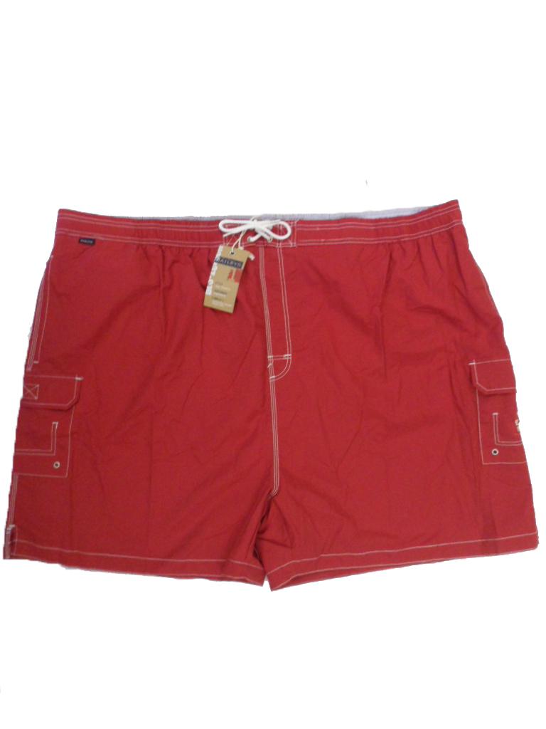 Grote maat zwemshort met binnenbroek 6XL uni rood