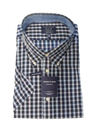SALE Today's man grote maat overhemd met korte mouw blauwe ruit