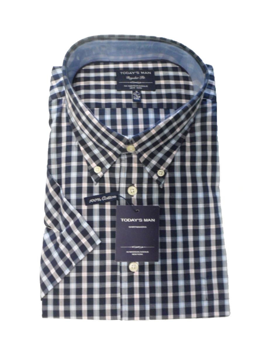 Maat Overhemd Man.Sale Today S Man Grote Maat Overhemd Korte Mouw Blauwe Ruit