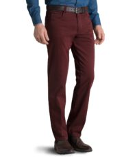 Grote maat Pionier casual stretch jeans donkerrood model Peter