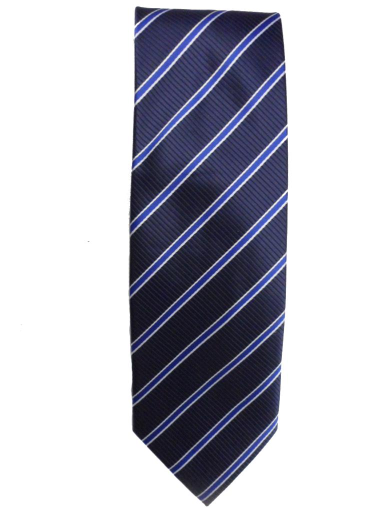 Stropdas blauw met wit in een diagonaal design