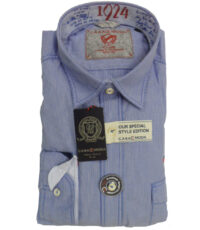 Casa Moda overhemd extra lange mouw lichtblauw lengte streepje sportief