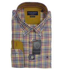 Casa Moda overhemd extra lange mouw gekleurde ruit 100%katoen