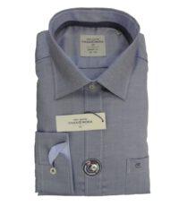 Casa Moda overhemd extra lange mouwlengte7 blauw gemeleerd strijkvrij