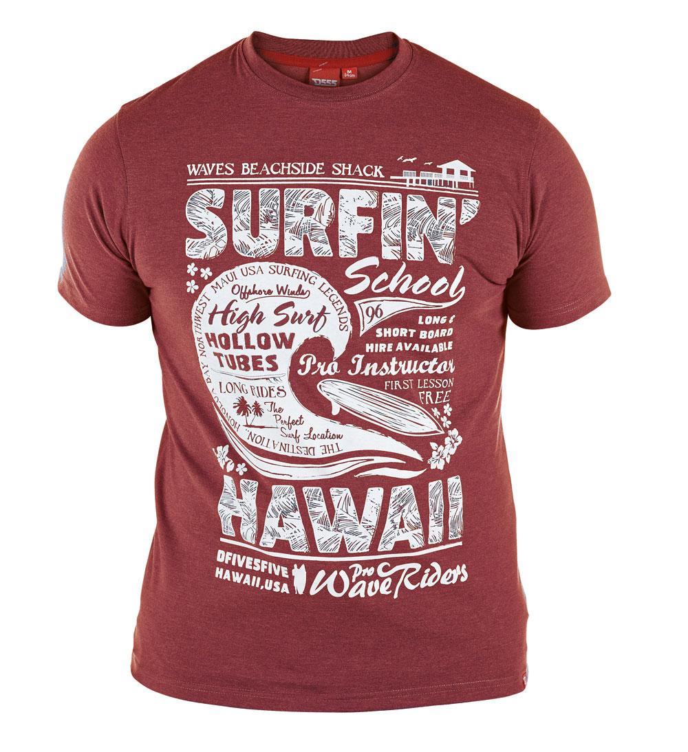 D555 grote maat t-shirt donkerrood opdruk surfin Hawaii