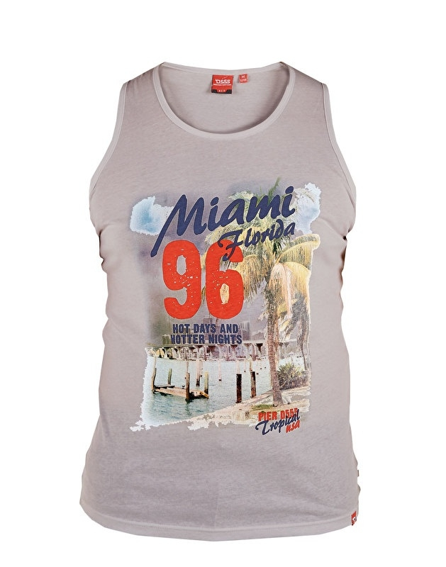D555 grote maat mouwloos t-shirt grijs Miami Florida