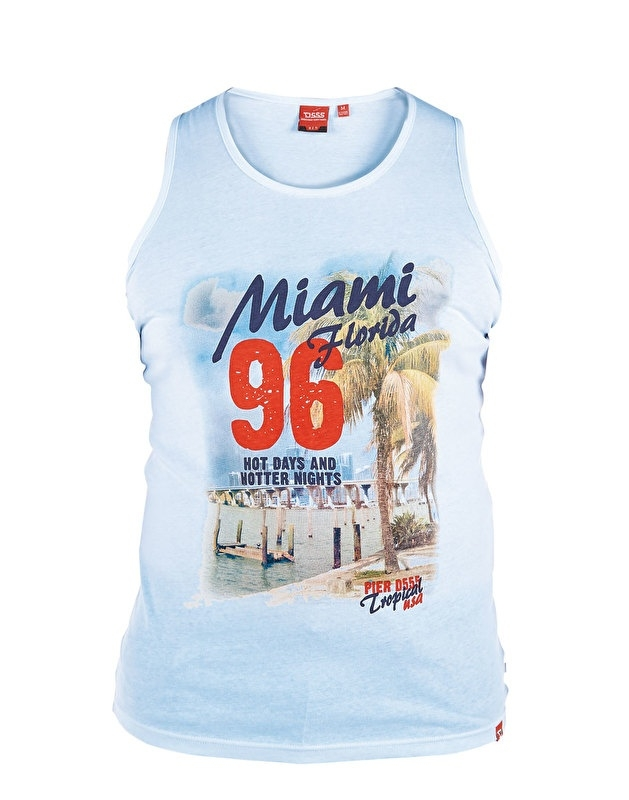 D555 grote maat mouwloos t-shirt lichtblauw Miami Florida