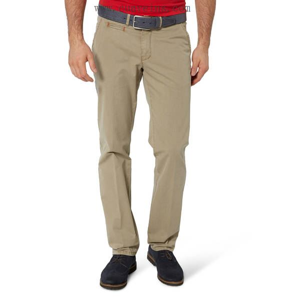 Club of comfort 38inch beenlengte maat stretch chino donkerbeige